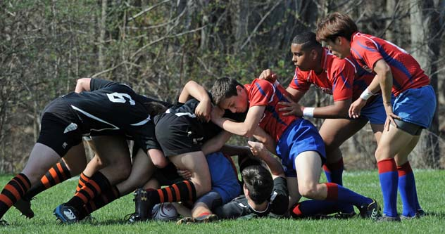 Boys rugby during a scrum