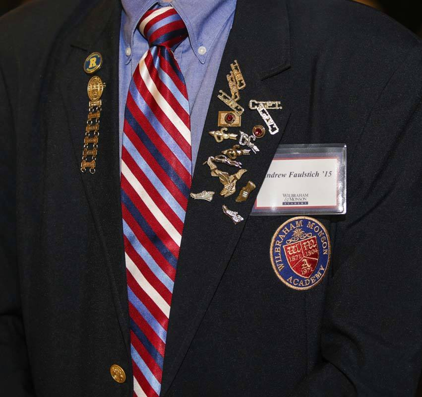 students blazer with wma pins